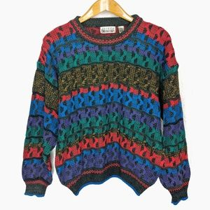 Vintage 80s City Streets Rainbow Slouchy Sweater L